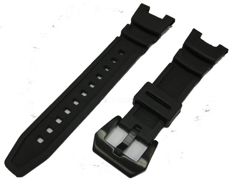 где купить Watch accessories for Casio SGW-100-1V strap silicone rubber watch with black дешево