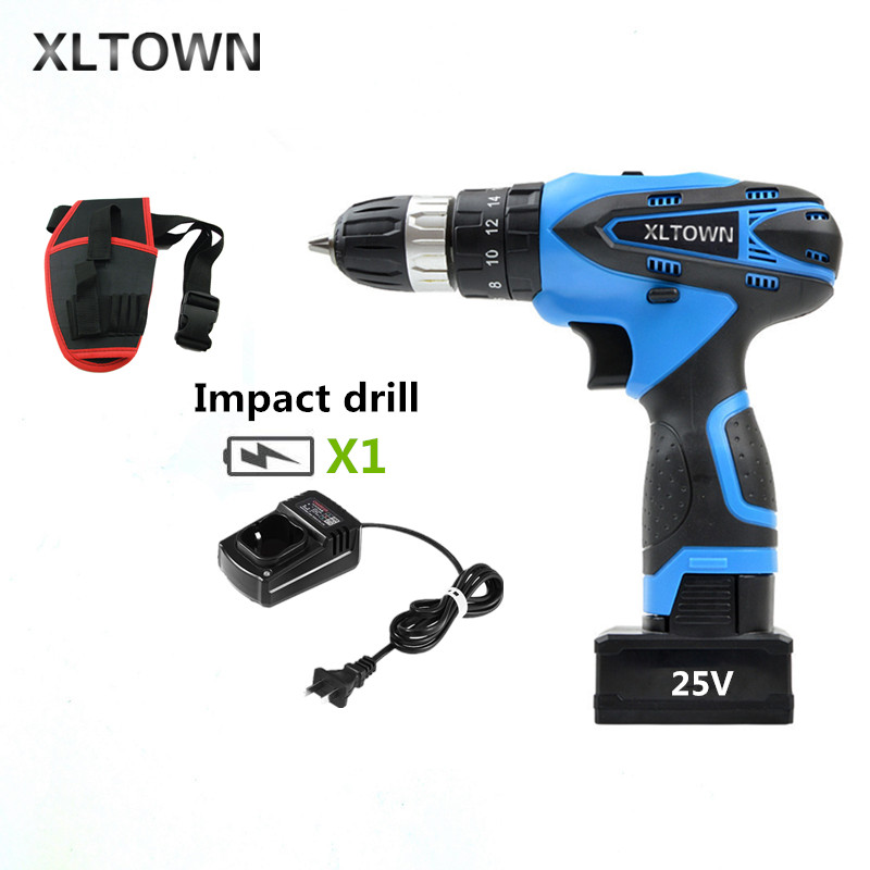 XLTOWN 25V Impact Drill Rechargeable Lithium Battery Electric Screwdriver Multifunction Cordless Household Electric Drill