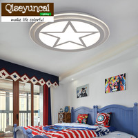 Qiseyuncai 2018 children's room led eye protection Acrylic Ultrathin Stars ceiling lamp, boy room, warm bedroom lighting