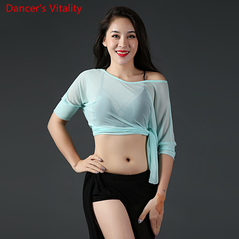 Fashion Belly Dance Women Practice Perspective Top Performance Batwing Sleeves Clothes Rumba Salsa Tango Cha Cha Samba Dancewear