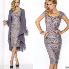 Lace Up Sheath Sweetheart Knee Length Gray Silver Blue Lace Chiffon Short Mother