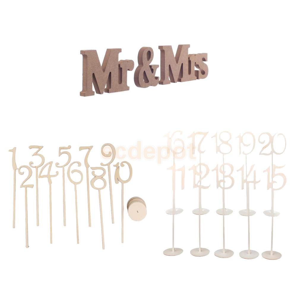 Wood MR & MRS Letter FreeStanding Sign + 1-20 Table Numbers Sticks with Base Wedding Birthday Party Decoration