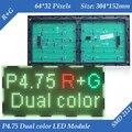 Indoor P4.75 RG Dual color SMD2121 LED display module 304*152mm 64*32 pixels for LED sign Board