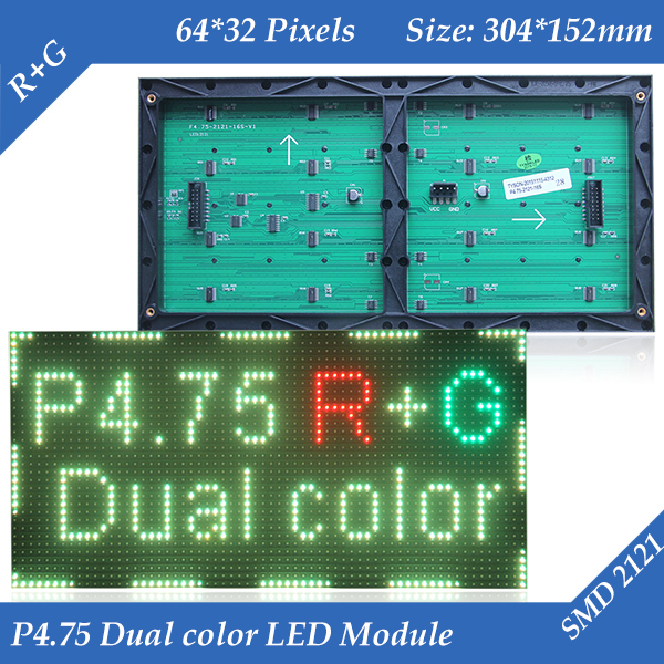 SMD2121 interior P4.75 RG Dupla cor LED display module 304*152mm 64*32 pixels para LED sign placa