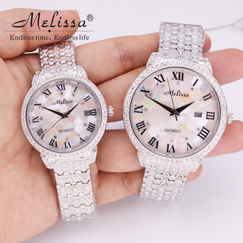 Men's Watch Women's Watch Japan Mov Fashion Rhinestone Shell Luxury Couple Clock Crystal Lovers' Watch Birthday Gift Melissa Box
