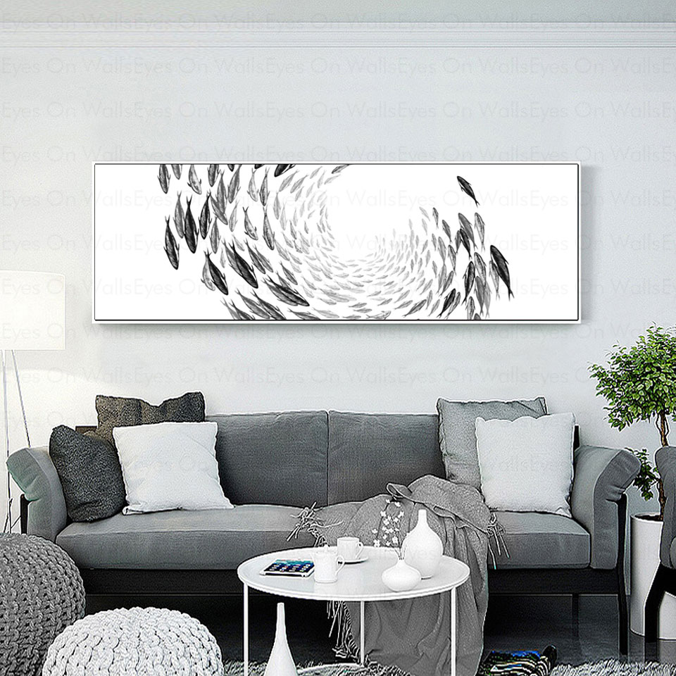 1 Panel No Frame Fish Migration Canvas Painting Black White Print ...