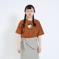 New Summer T Shirts Women Cotton O Neck Casual Brown T Shirt Short Sleeve Cartoon Printed