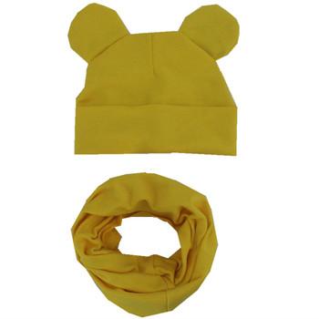 Nowe mody śliczne uszy dzieci kapelusz zestaw szalików jesień zima bawełna czapki dla dzieci czapki zestaw chłopcy dziewczęta kapelusz zestaw szalików kapelusze dziecięce tanie i dobre opinie miaolingfangxin CN (pochodzenie) Dziewczyny COTTON moda 20cm 40cm Szalik Kapelusz i rękawiczki zestawy children hat scarf set