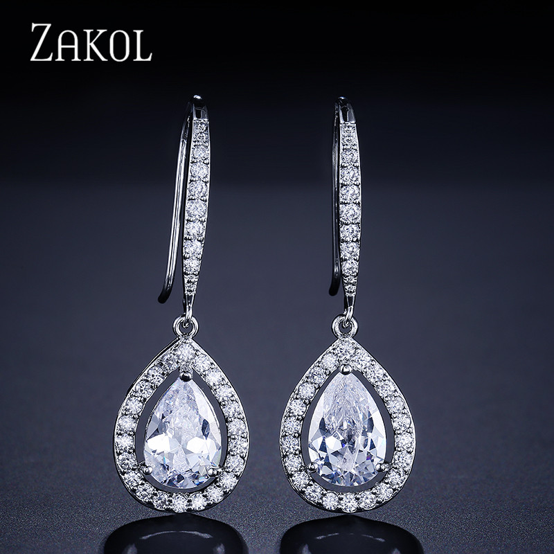 ZAKOL Factory бағасы Әйелдер Trendy Sliver Түсі Су Су шығыны Shape Zirconia Hook қиғаш Earrings FSEP331