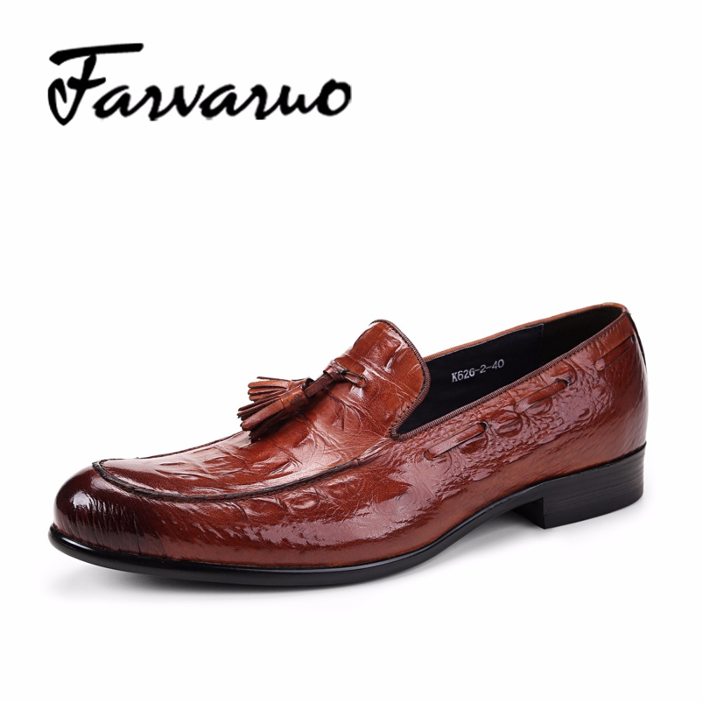 Farvarwo Men's Casual Wedding Dress Shoe Crocodile Brand Shoes Men Genuine Leather Tassels Oxfords Slip-on Brown Penny Loafers men s casual genuine leather crocodile oxfords shoes wedding shoes for mens brogues shoes gentleman business shoe dress moccasin