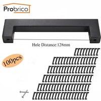 Probrico 100 PCS 15mm 15mm Black Square Bar Handle Stainless Steel CC 128mm Cabinet Knob Furniture