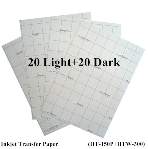 40pcs 20pcs light 20pcs Dark Inkjet Heat Transfer Paper for Cotton A4 Size 8 3