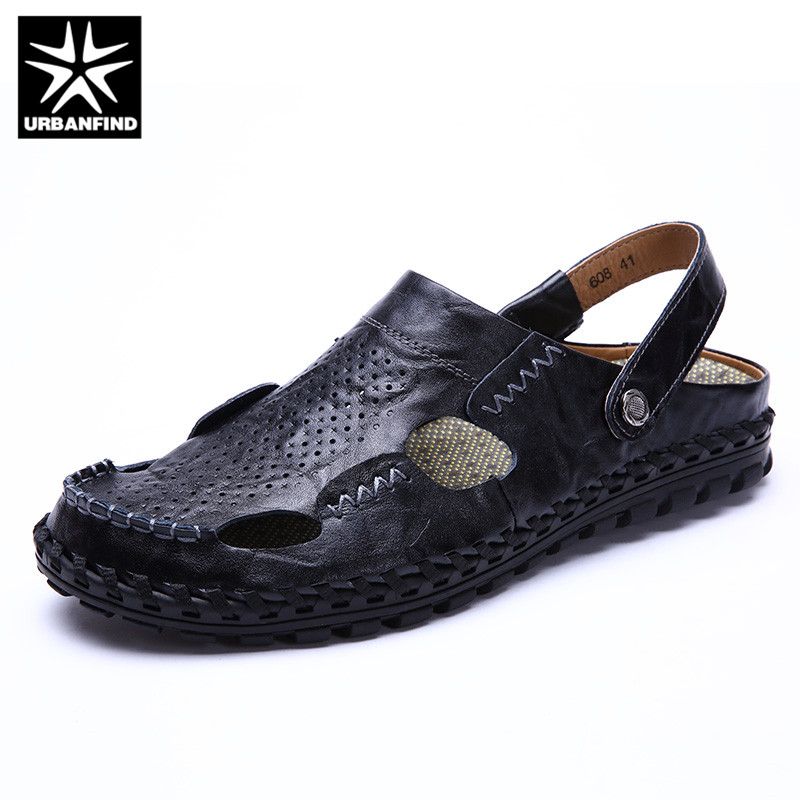 URBANFIND Hollow Style Men Summer Leather Sandals Casual Slippers Size 38-44 Breathable Comfortable Male Beach Holiday Shoes