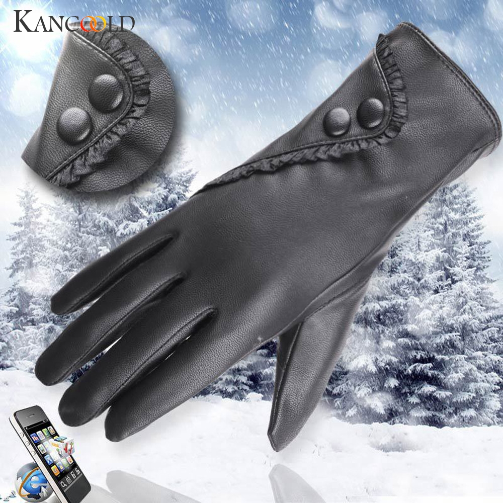 KANCOOLD Gloves Fashion Lady Soft Leather Gloves Winter Warm Mitten Xmas Gift Black High Quality Gloves Women 2018NOV23