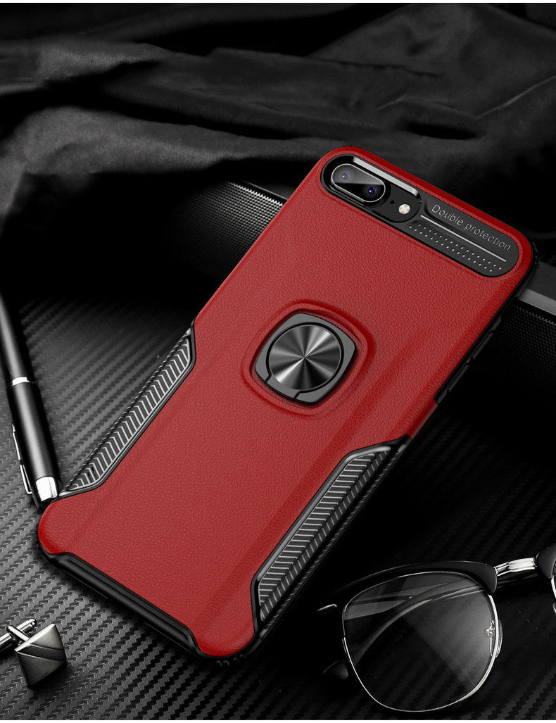 Luxury Leather skin Shockproof phone case For iPhone 7 8 6 6s plus back cover For iphone XR XS max cases with magnet ring holder (11)