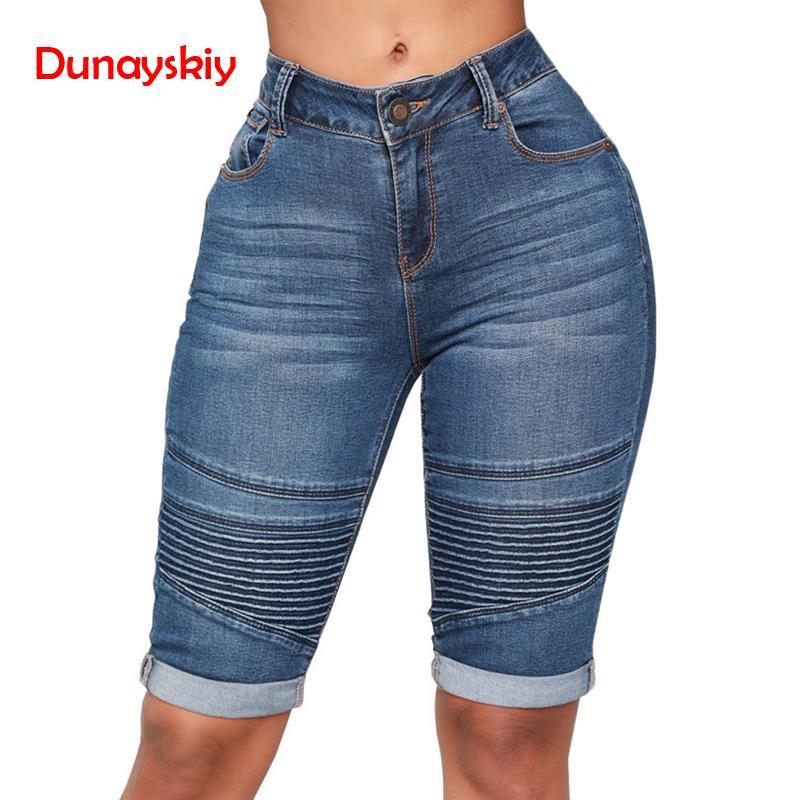 Summer Women's High Waist Denim Blue Shorts Bodycon Knee Length Elastic Slim Fit Classic Shorts 2020 New Style
