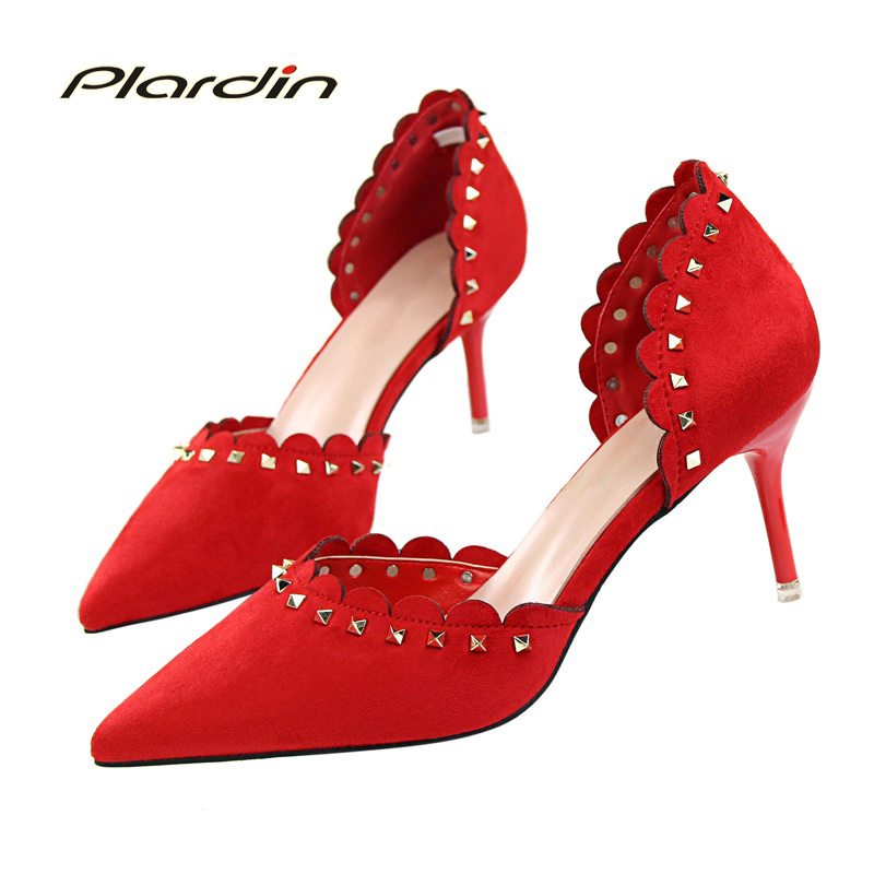 plardin New Shoes Woman Sweet Pointed Toe Ruffles Women Party Wedding Metal Decorat Shallow Mouth Two Piece Side High Heel Pumps 2017 shoes woman fashion sweet bowtie pointed toe sexy women party shallow mouth side hollow women thin high heel shoes