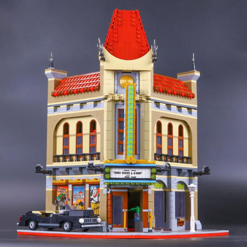 Creative Street Scene Series 150006 City Building Blocks Replica Chinese Theater Model Building Blocks brick oyuncak toys city architecture mini street scene view reims cathedral police headquarters library fire departmen building blocks sets toys