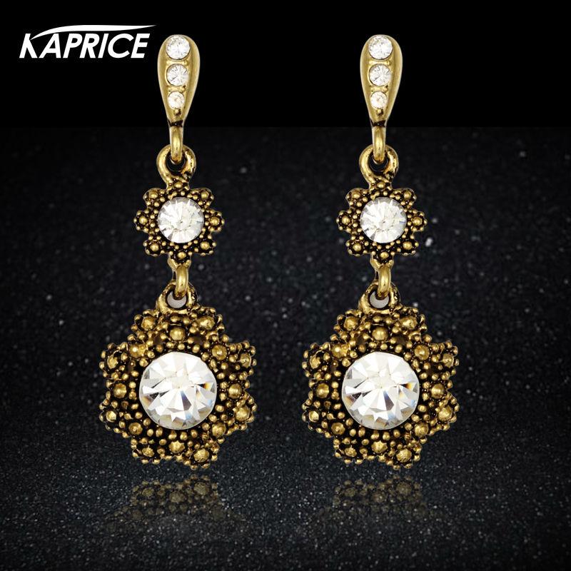 Kaprice Turkish Russian Style For Women Antique Gold Plating Austrian Stone Drop Earring Fashion
