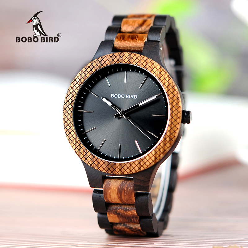 BOBO BIRD Wood Watch Men bayan kol saati Quartz Mens Watches with Luminous Hands in Wooden Gifts Box WD30-1 bobo bird men s wooden watch with all wood strap quartz analog with diamond relojes hombre gifts in wood box custom logo