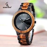 BOBO BIRD WD30 1 Upgraded Two Tone Zabra Wood Watch Mens Quartz Wristwatch With Luminous Hands