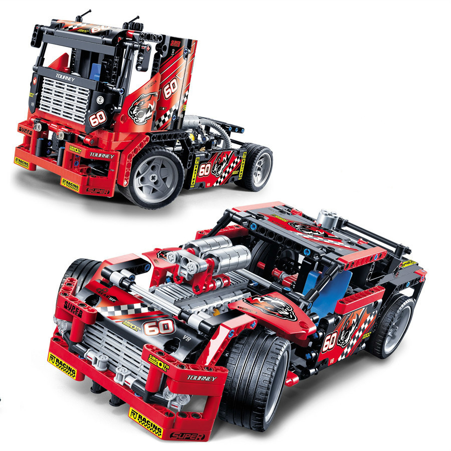 608 Pieces Truck Racing Car Blocks 2 In 1 Transformable Model Building Block Sets DIY Technic Bricks Toys For Children Gifts 8 in 1 military ship building blocks toys for boys