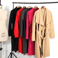 2018 Fashion Wide Lapel Women Autumn Coat With Belt Loose Women Woolen Blend Women Camel Coat Cardigans Coat Femme S XL