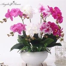 2 Tak Real Touch Vlinder Orchidee Kunstmatige Bloem Diy Bruiloft Home Garden Decor Nep Bloem Pu Planten Pot Bloemen Orchidee