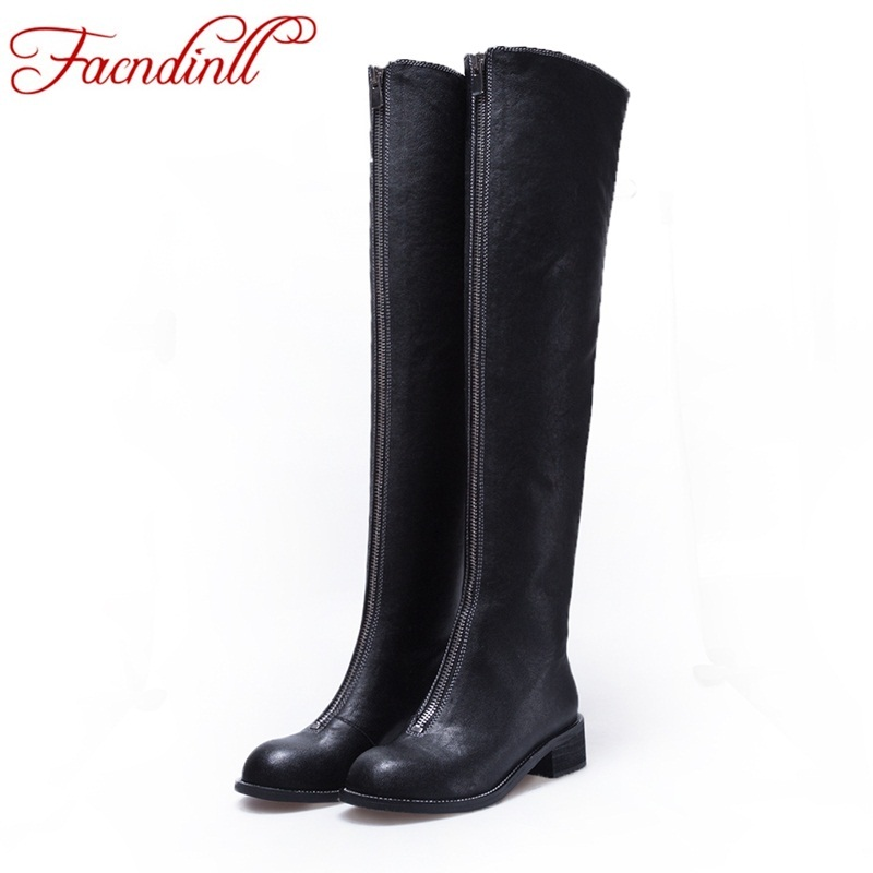 FACNDINLL brand shoes women fashion winter over the knee high boots woman genuine leather black winter thigh high boots platform цена