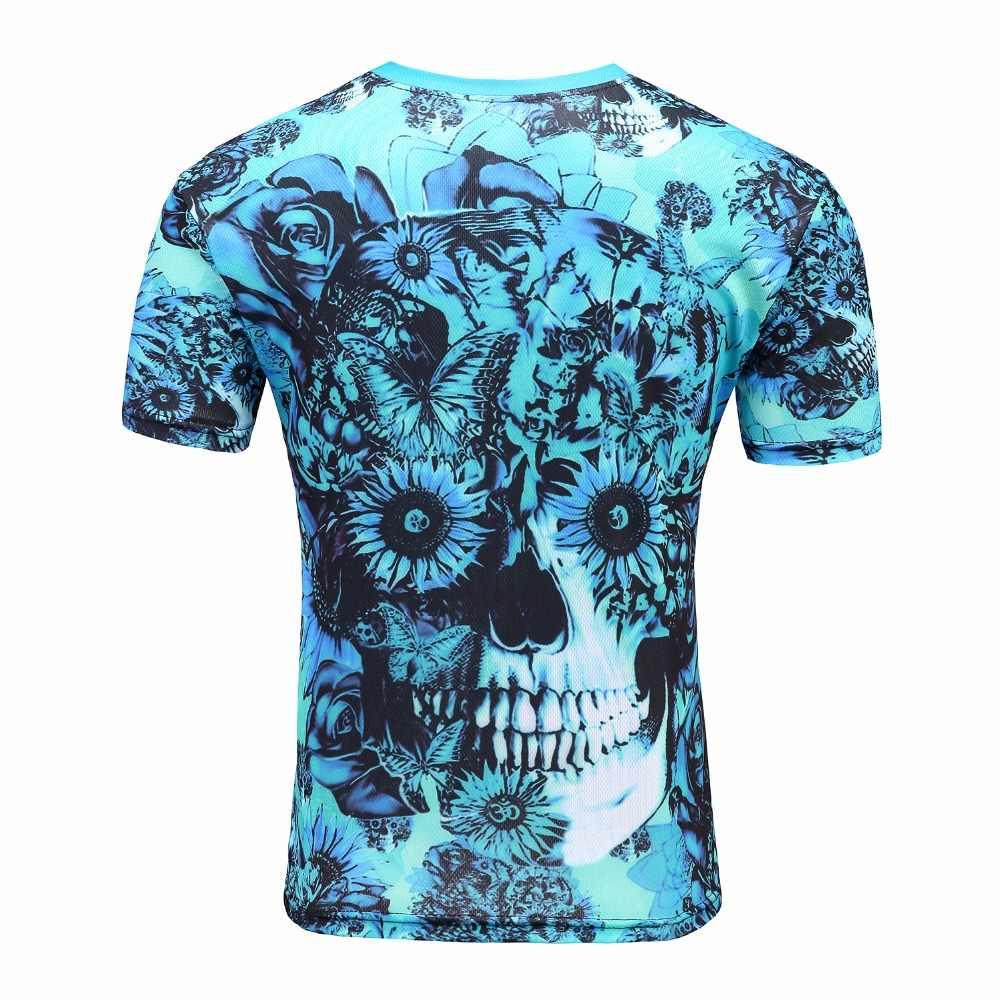 2019 Новая модная футболка с черепами Мужская 3d футболка рубашка с короткими рукавами Забавный принт много черепа Мужская рубашка M-4XL