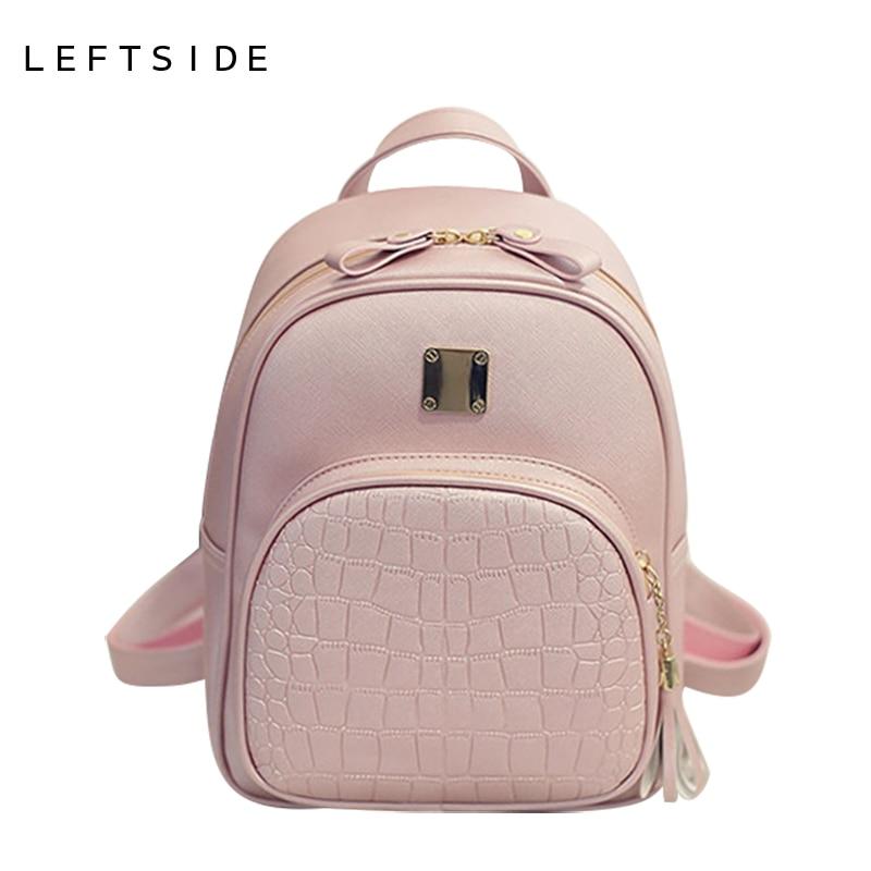 LEFTSIDE 2017 New Korean Backpacks Fashion PU Leather Shoulder Bag Crocodile Pattern Small Backpack Embossed Leisure