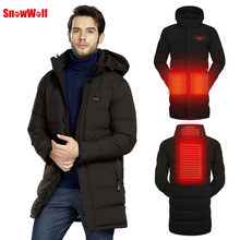 SNOWWOLF 2019 Men Winter Fishing Clothes Outdoor USB Infraded Heating Hooded Cotton Jacket Hiking Fishing Thermal Clothing Coat недорого