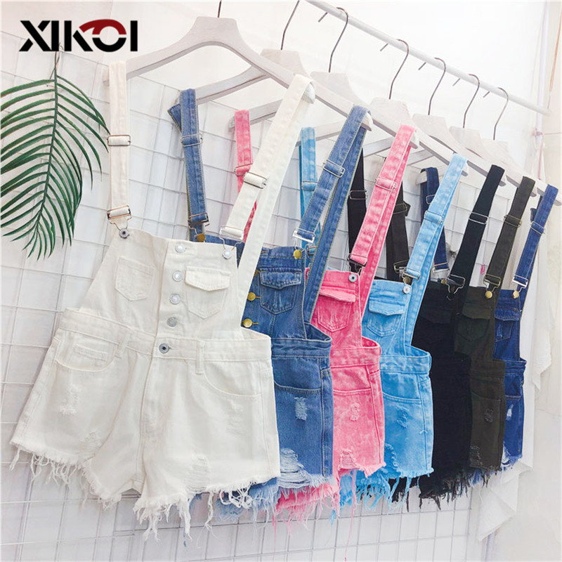 XIKOI Denim Overalls Women Korean Fashion   Jumpsuits   Female Denim Playsuit Cotton Straps Tracksuits Womens High Waist Rompers