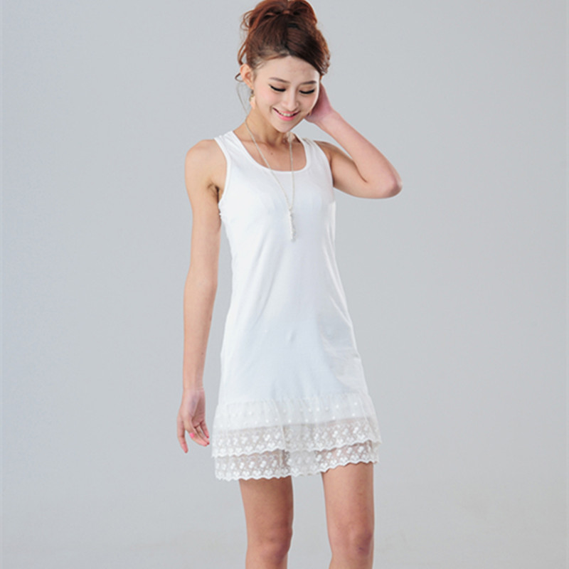 US $13.51 15% OFF|Summer Black Gray White Lace Above Knee Tank Dress  Quality Elastic Cotton Underdress Plus Size Basic Dresses For Women-in  Dresses ...