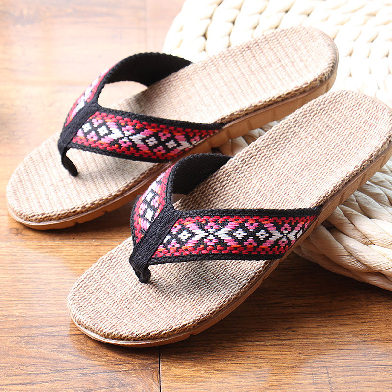effd57c612c4 New Summer Linen Women Slippers Ethnic Lattice Fabric Eva Flat Non Slip  Flax Flip Flop Home Slides Lady Sandals Straw Beach shoe-in Flip Flops from  Shoes on ...
