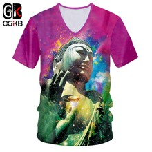 OGKB T Shirts Male New V Short Sleeve Multicolor 3D Tee Shirt Print Buddha Streetwear Large Size Garment Male Spring T-shirt(China)