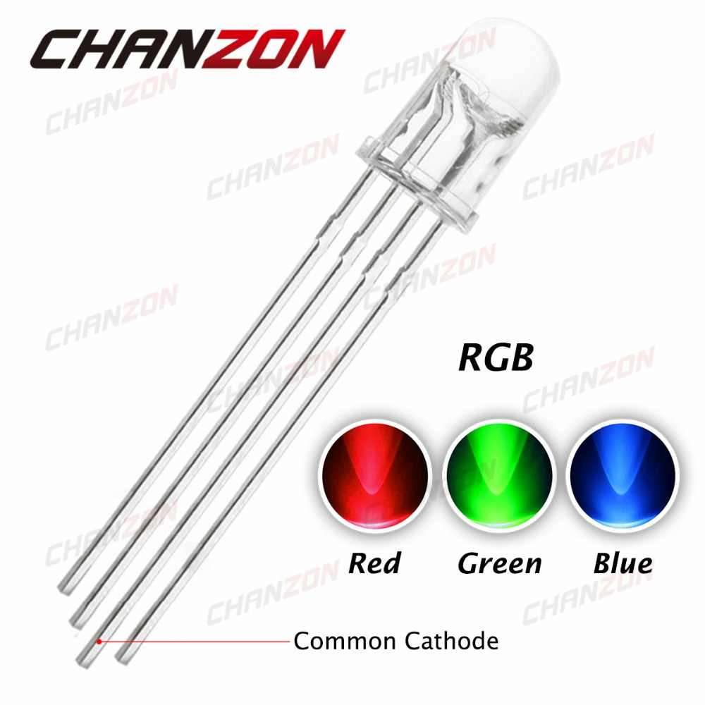 100pcs 5mm RGB LED Common Cathode 4pin Red Green Blue LED Round Tricolor LED Light Emitting Diode 5 mm Tri Color Transparent