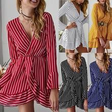 Womens Sexy V-Neck Striped Printed Summer Long Sleeve Ruffled Hem Flare Party Wrap Mini Dress Vestidos Femininos