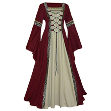 COSMORE Women's Burgundy Red medieval victoria Bell sleeve bundled corset Lace up