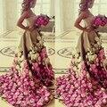 Arabia saudita vestidos de noche vestidos de la longitud del piso sin tirantes escote lentejuelas flores hechas a mano 3d un line oro vestidos de baile árabe