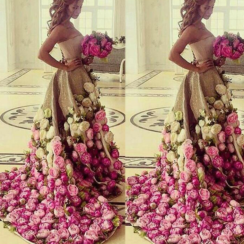 Saudi Arabia Evening Gowns Dresses Floor Length Strapless Neckline Sequins Hand Made Flowers 3D A Line Gold Prom Dresses Arabic