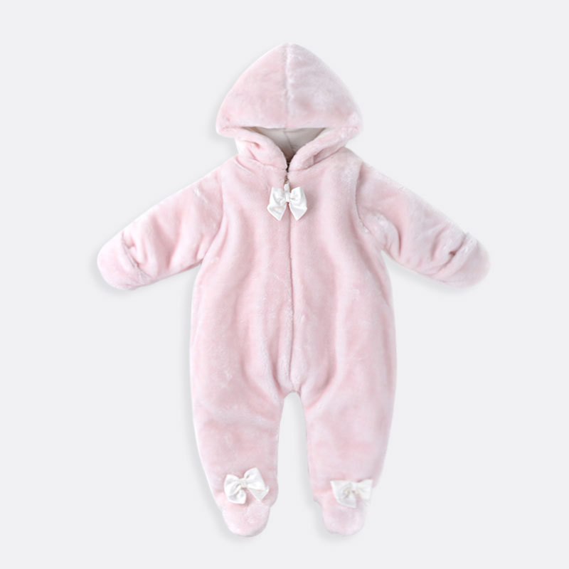 Winter Children Clothes Coral Velvet Baby Boy Girl Rompers Kids Costume Long Sleeve Hooded Cotton Warm Infant Baby Romper hsp208 children s winter rompers overall for kids pink blue warm coral velvet long sleeve jumpsuit bear baby clothes for kids