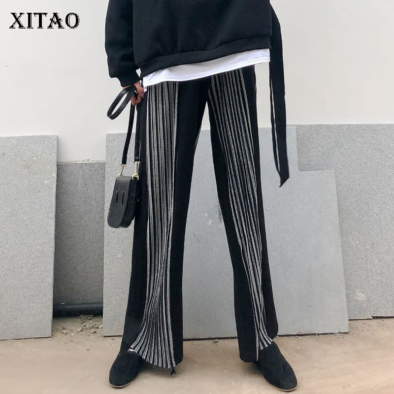 [XITAO] New Women 2019 Spring Summer Striped   Wide     Leg     Pants   Female Elastic Waisted Pleated Patchwork Full Length   Pants   LYH2489