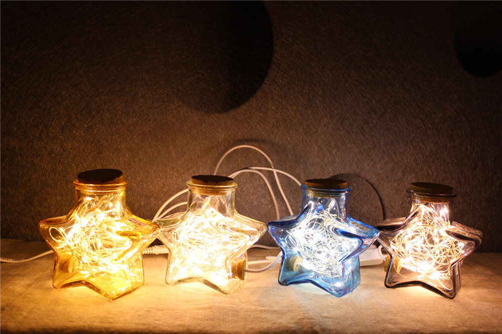 ФОТО Micro Landscape Glass Bottles With LED Lights Modern Creative Lucky Star Table Lamp Bedroom Small Night Light Cafe Bar Christmas