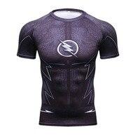 Compression Shirt Flash 3D Printed T shirts Men Raglan Short Sleeve Flash Cosplay Costume Quick Dry Fitness Clothing Tops JO1