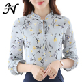 Autumn Shirt Women 2017 Woman Chiffon Blouse Long Sleeve New Arrivals Casual Fashion Print Floral Tops Women's Clothing Yellow