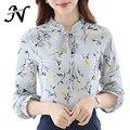 Otoño camisa de la mujer 2017 mujer recién llegados informal impresión de la moda floral de manga larga blusa de la gasa tops mujeres clothing amarillo