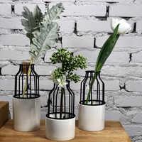 Géométrie créative en fer forgé cage à oiseaux en céramique vase pot de fleurs arrangement en verre fleur stand Paris décor à la maison ornements