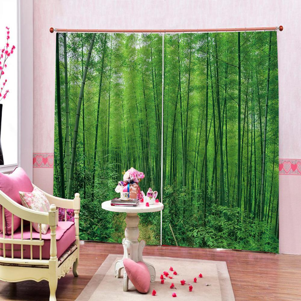 Customized size Luxury Blackout 3D Window Curtains For Living Room green curtains bamboo curtainCustomized size Luxury Blackout 3D Window Curtains For Living Room green curtains bamboo curtain