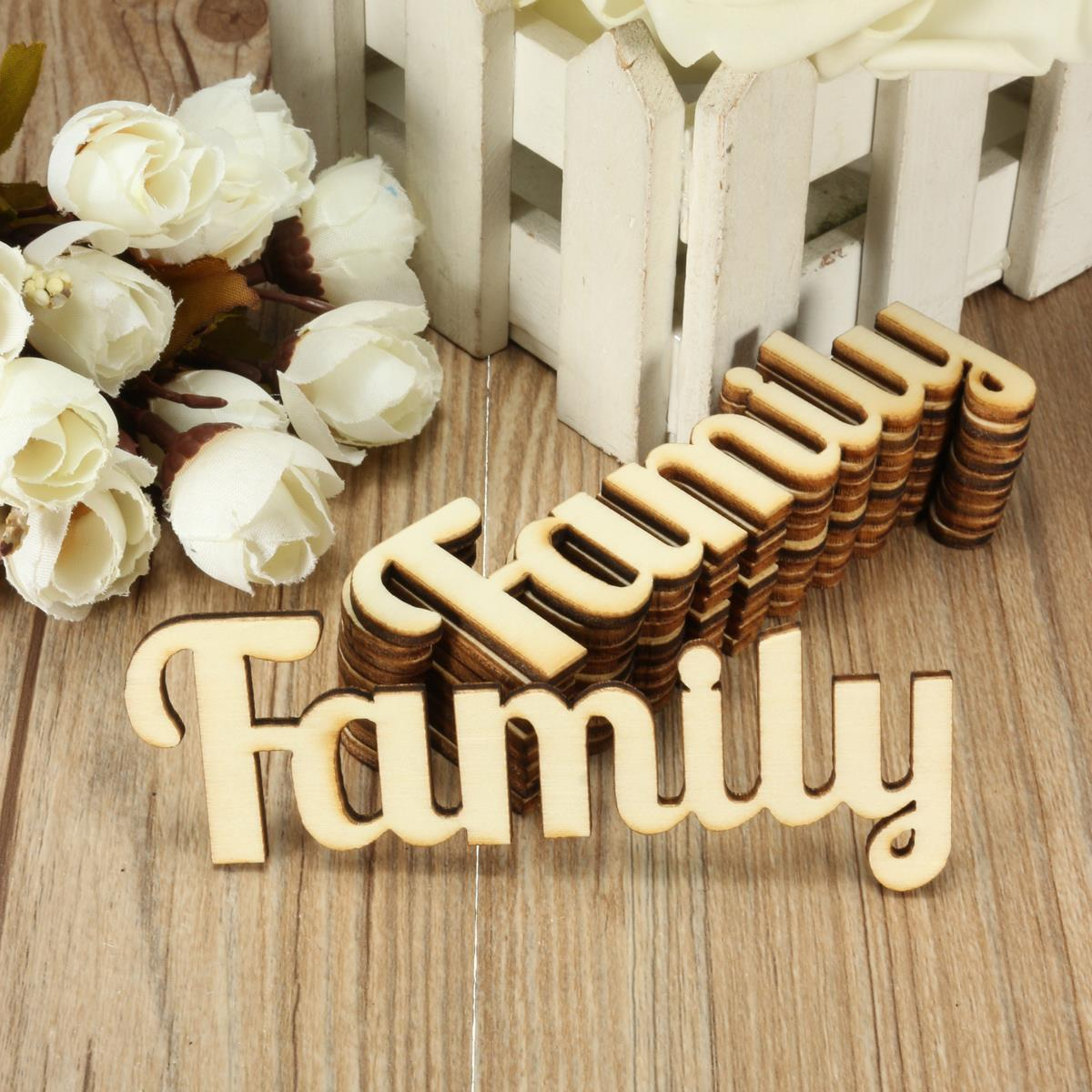 10pcs retro family wooden words script sign ornament plaque table stand decor crafts home design decorative crafts accessories